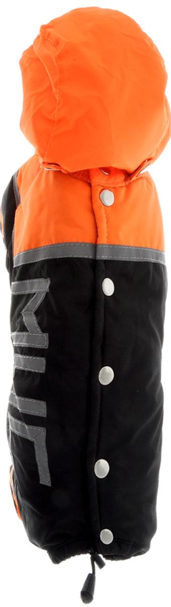 """Комбинезон для собак Kuzer-Moda """"МЧС"""", для мальчика, утепленный, цвет: черный, оранжевый. Размер M"""