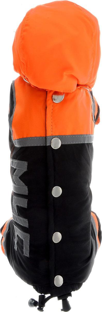 """Комбинезон для собак Kuzer-Moda """"МЧС"""", для мальчика, утепленный, цвет: черный, оранжевый. Размер XXS"""