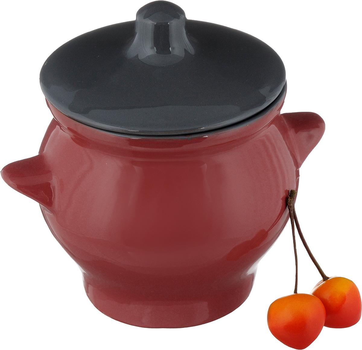 """Горшок для жаркого Борисовская керамика """"Радуга"""", цвет: красный, серый, 650 мл"""