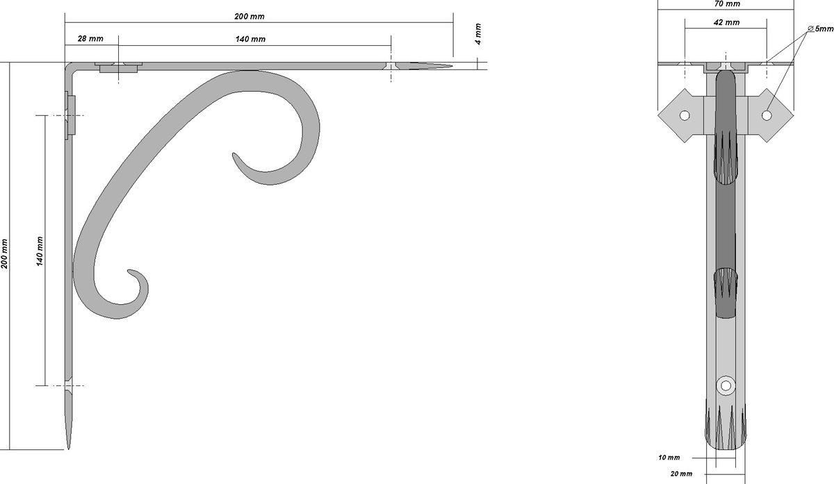 Кронштейн кованый AVMmetall, 200 х 200 мм, цвет: черный, патина: медь. 200-1200-1-bl-cuКронштейн кованый выполнен из стали толщиной 4 мм и 10 мм. Назначение: подвес для цветов, кронштейн для полки. Покрытие эмаль черного цвета. Патина (серебро, бронза, медь). При правильном монтаже выдерживает статичную нагрузку 150 кг.