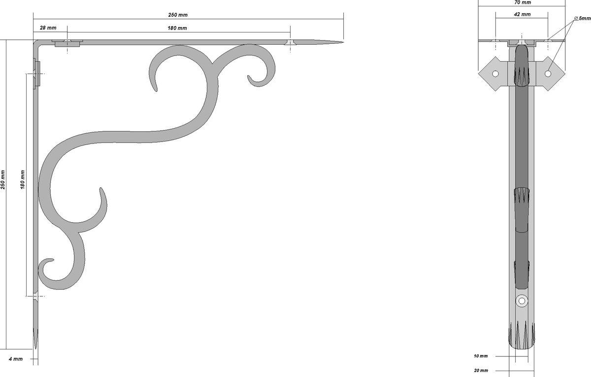 Кронштейн кованый AVMmetall, 250 х 250 мм, цвет: черный, патина: медь. 250-2250-2-bl-cuКронштейн кованый выполнен из стали толщиной 4 мм и 10 мм. Назначение: подвес для цветов, кронштейн для полки. Покрытие эмаль черного цвета. Патина (серебро, бронза, медь). При правильном монтаже выдерживает статичную нагрузку 150 кг.