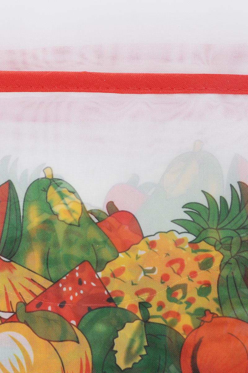Комплект штор для кухни ТД Текстиль Фруктовая поляна, на ленте, цвет: светло-коричневый, белый, 5 предметов86157_светло-коричневыйКомплект штор для кухни ТД Текстиль Фруктовая поляна, выполненный из вуалевого полотна (100% полиэстер), великолепно украсит любое окно. Комплект состоит из тюля, двух штор и двух подхватов. Оригинальный дизайн и яркая цветовая гамма привлекут к себе внимание и органично впишутся в интерьер помещения. Комплект крепится на карниз при помощи ленты, которая поможет красиво и равномерно задрапировать верх. Комплект будет долгое время радовать вас и вашу семью!