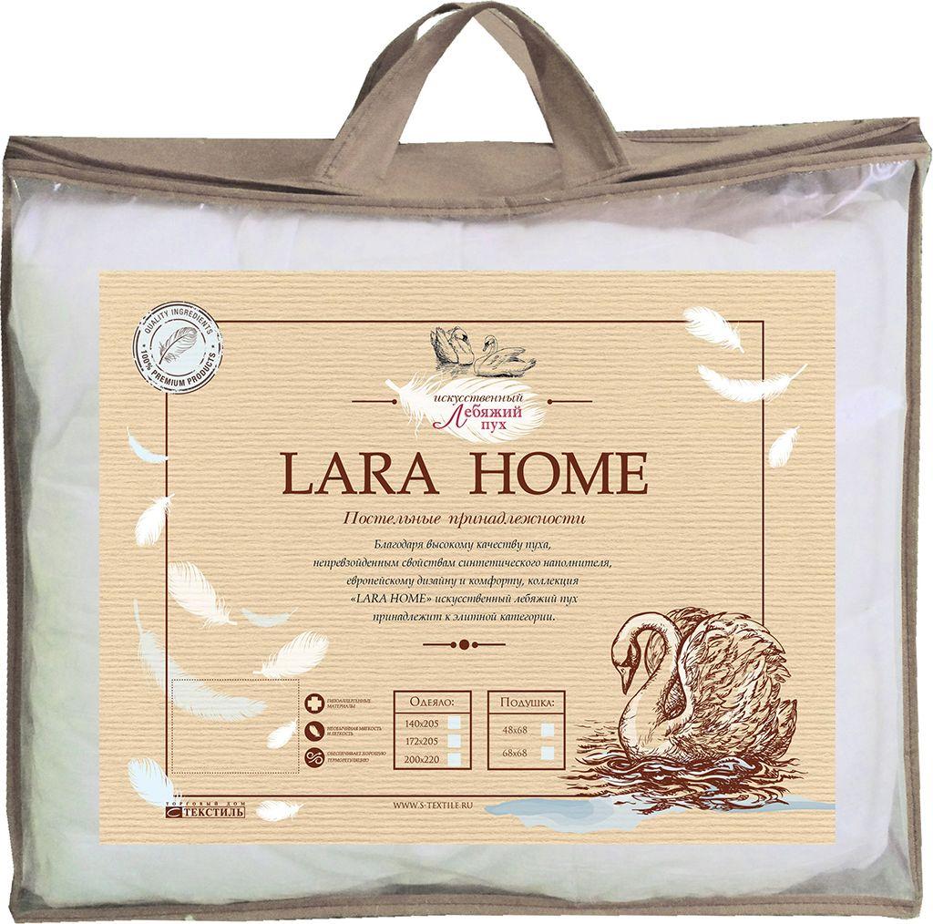 Подушка Lara Home Лебяжий пух, всесезонное, цвет: белый, 200 х 220 см87106Наполнитель: пласт высокоизвитое силиконизированное волокно Лебяжий пух