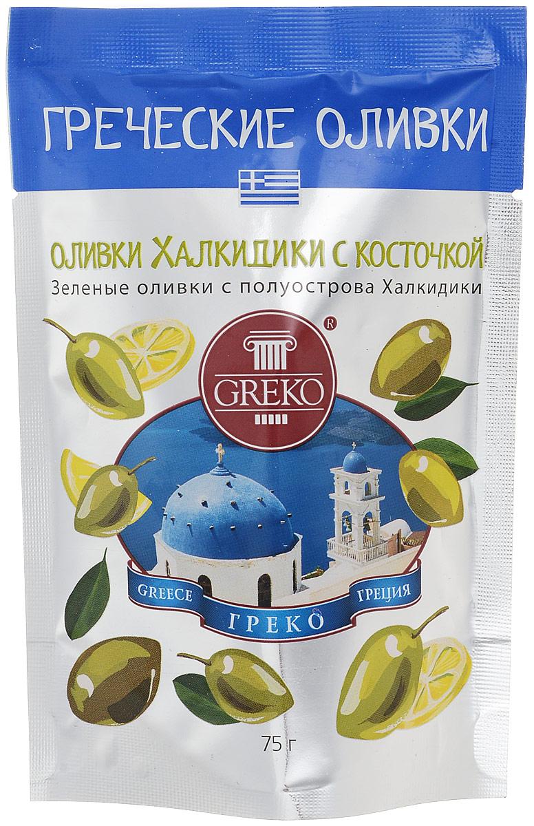 Greko оливки сорта Халкидики с косточкой, 75 г 4607070526056