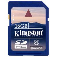 Kingston SDHC Class 4 16GBSD4/16GBКарта памяти SDHC с увеличенным объёмом памяти. Внимание: перед оформлением заказа, убедитесь в поддержке Вашим электронным устройством карт памяти данного объема.