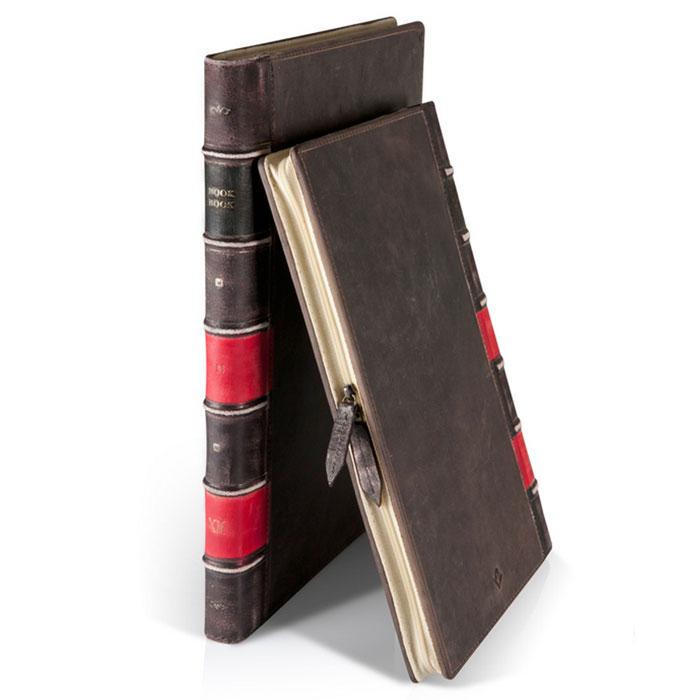 Twelve South BookBook кожаный чехол-книга для MacBook Air 13, Black12-1104Кожаный чехол для ноутбука MacBook Air имитирует старинную книгу в кожаном переплете. Каждый чехол после изготовления проходит процесс искусственного старения поверхности (выполняется вручную) — что придает чехлу индивидуальность и уникальный дизайн. Позволяет работать с ноутбуком, не извлекая его полностью из чехла.