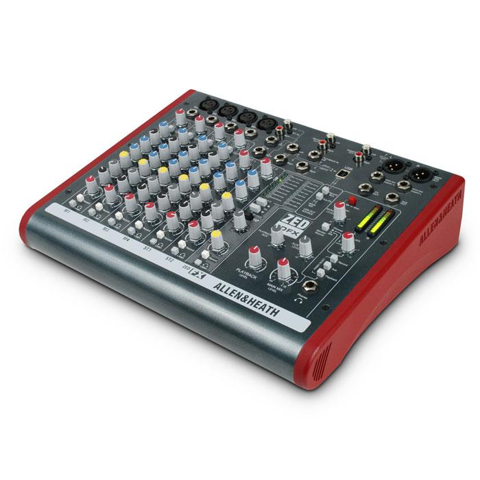 Allen&Heath ZED10FXZED10FXМикшер для живой работы, записи и продакшн студий, 4 моно, 2 стерео, USB интерфейс, 3-полосный эквалайзер с полупараметрической серединой на моно входах, 2-полосный эквалайзер на стерео каналах. Каналы 1 и 2 - универсальные микрофонно-линейные входы на разъемах Jack и XLR. Каналы 3 и 4 следует использовать как высокоомные гитарные входы, что позволяет не пользоваться DI – боксом. Оба стереоканала имеют входы на стандартных Джеках, но один из нмх еще имеет пару phono разъемов для CD проигрывателя. ZED10 также имеет дополнительный стереовход, называемый PLAYBACK, который приходит на каждый разъем Jack или USB порт и имеет свой регулятор уровня. Подавать сигнал с Playback на Aux очень удобно для создания сопровождающего трека для вокала. Порт USB работает на вход и на выход. Для выхода он может задействоваться с основного микса или микса записи, что удобно для записи простых проектов или живых номеров непосредственно в компьютер. Как вход он очень удобен для...