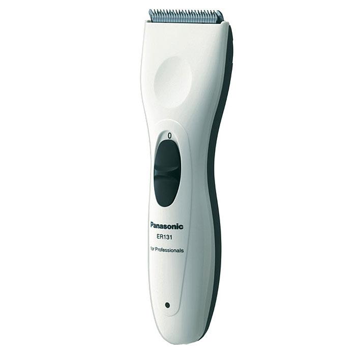 Panasonic ER-131 машинка для стрижкиER131H520Электрическая машинка для стрижки волос Panasonic ER 131 H может работать как от сети, так и от аккумулятора. При зарядке в течение 8 часов время автономной работы составляет 40 минут. Аккумулятор Ni-Mh (никель-металлогидридный) - экологичный и долговечный. Специальный индикатор показывает уровень заряда аккумулятора. Машинка для стрижки волос Panasonic ER 131 H оснащена двумя гребневыми насадками, с помощью которых можно достичь длины стрижки от 3 до 12 мм. Лезвия изготовлены из нержавеющей стали, они долговечны и пригодны для стрижки жестких волос. Двигатель 6300 об/мин Скорость стрижки - 34 000 волос/сек Эргономичный корпус Заточка лезвий типа Diamond Заточка лезвий под углом 45°
