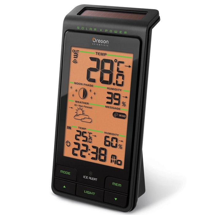 Oregon Scientific BAR808HGBAR808HGАнимированный прогноз погоды на 12-24 часа Пиктограммы прогноза погоды: Осадки, Переменная облачность, Облачность, Ясно (в порядке возрастания давления) Стрелочный индикатор тенденции изменения атмосферного давления (стабильно, растет, падает) Измерение температуры в помещении и на улице Измерение влажности в помещении и на улице Возможность подключения до 3 внешних датчиков радиусом действия 30 м Предупреждающие сообщения – Жарко / Туман / Заморозки / Шторм / Ветер Предупреждение о заморозках – мигающий зеленый светодиод Радиоконтролируемые часы, календарь Регистрация мин / макс значений температуры за последние 24 часа Отображение фаз луны Индикатор необходимости замены батареек в датчике Индикатор необходимости замены батареек в погодной станции Частичное питание от солнечной батареи Подсветка дисплея Количество каналов (датчиков) возможных к подключению: 3 Формат часов: 12/24 Диапазон...