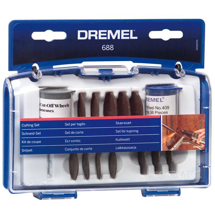 Набор оснастки для резки Dremel 688 (26150688JA)26150688JAНабор Dremel 688 из 68 отрезных кругов в удобном чемодане. Мобильный чемоданчик для принадлежностей и 3 разделителя - отличное решение для хранения инструмента. В брошюре Dremel Краткий курс Вы найдёте объяснение всем насадкам.