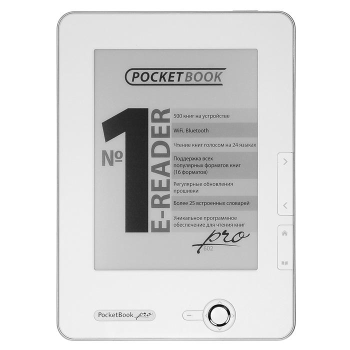 PocketBook Pro 602, Matte WhitePB602-MW-RUСделайте выбор между PocketBook Pro 602 и 902. Эти две модели аналогичны во всем, кроме размера экрана - разница в три дюйма. Если Вам необходимо компактное устройство - выберите Pro 602. Небольшие размеры легко позволяют брать его с собой и читать где угодно. Экран е-ink: Применение технологии электронной бумаги сделало чтение с PocketBook Pro 603 идентичным обычной бумажной книге. Экран поддерживает 16 градаций серого, что позволяет отображать сложные тексты и иллюстрации. Увеличенная диагональ добавляет удобства при просмотре файлов с большим количеством графического материала и иллюстраций. Безопасность для зрения: В сравнении с обычными ЖК дисплеями, в E-ink экранах отсутствует мерцание, которое вызывает напряжение глаз. Читать электронные ридеры PocketBook можно часами, не опасаясь за свое зрение. Еще комфортнее для глаз: У обладателей PocketBook Pro 603 не возникает сложностей с углами обзора или бликами на солнце. Электронные ридеры...
