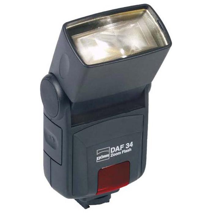 Doerr DAF-34 Zoom Flash Pentax/Samsung4000461036583Вспышка Doerr DAF-34 для цифровой камеры, с TTL замером, головка имеет угол наклона от 30 до 90 градусов, соответствует фокусному расстоянию объектива 24-85 мм, ведущее число 34.