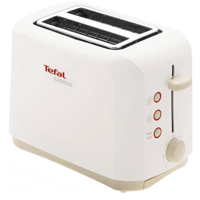 Tefal TT357130 Express, White тостерTT357130Тостер Tefal TT357130 Express имеет легкий термоизолированный тостер. Данная модель имеет два отделения для приготовления ароматных и хрустящих ломтиков хлеба. Также имеются функции разморозки и подогрева тостов. Съемный поддон для сбора крошек поможет вам поддерживать чистоту на вашей кухне.