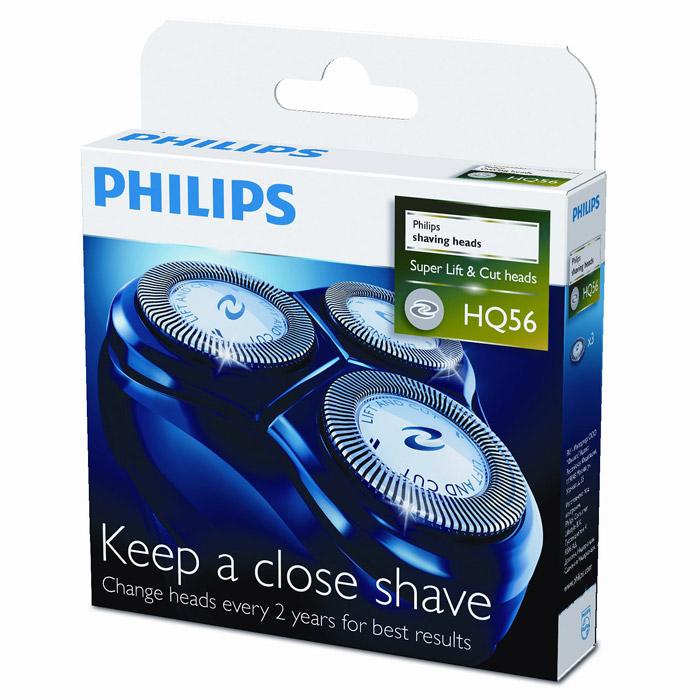 Philips HQ56/50 бритвенные головки, 3 шт.HQ56/50Бритвенные головки Philips HQ 56/50. Ежегодно лезвия преодолевают высоту Эвереста... 49 раз! От такой работы даже лучшие материалы могут утратить свою остроту. Поддерживайте идеальное качество работы бритвы - заменяйте головки через каждые 2 года. Технология Lift & Cut Система двойных лезвий: первое лезвие приподнимает волосок, а второе - срезает его у самого основания, что обеспечивает более чистое бритье. 15 очень острых лезвий для быстрого и чистого бритья. Подходит для: HQ130, HQ132, HQ136, HQ30, HQ33, HQ40, HQ402, HQ404, HQ41, HQ42, HQ441, HQ444, HQ46, HQ460, HQ468, HQ481, HQ489, HQ5824, HQ6415, HQ6423, HQ6445, HQ6605, HQ6610, HQ6613, HQ6646, HQ6675, HQ6676, HQ6695, HQ6696, HQ6831, HQ6842, HQ6843, HQ6844, HQ6857, HQ6859, HQ6863, HQ6874, HQ6879, HQ6900, HQ6920, HQ6940, HQ6941, HQ6950, HQ6970, HQ6990, HQ801, HQ802, HQ805, HQ806, HS190