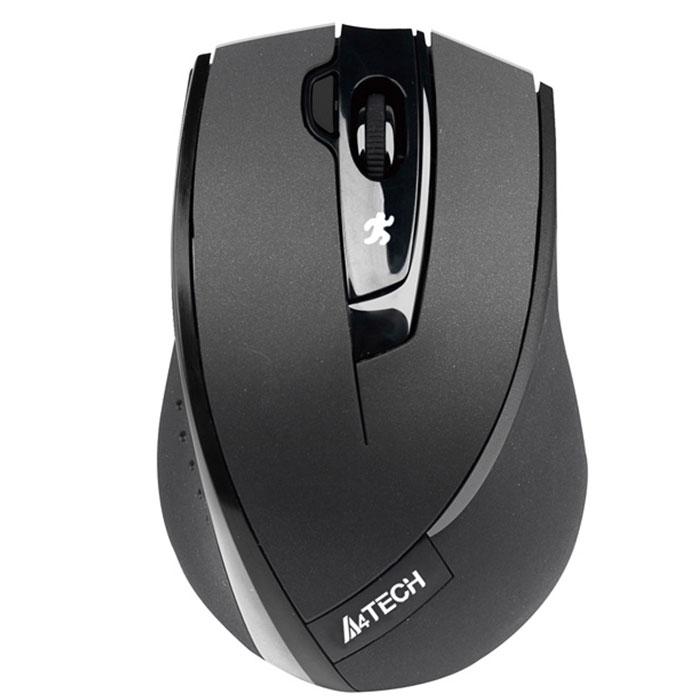 A4Tech G7-600NX-1, BlackW G7-600NX-1 BkБеспроводная мышь V-Track A4Tech G7-600NX. Уверенная работа на неровных поверхностях (инновационная технология V-Track): Усиленный оптический луч глубоко проникает в структуру поверхности, благодаря чему мышь быстро и четко работает на любых покрытиях. Если Вы любите расположиться с ноутбуком на кровати или на ковре - эта мышь для Вас. Мышь работает даже на объемной меховой поверхности! Одна кнопка - 16 функций: Если Вы хотите сделать свою работу за компьютером более легкой и быстрой, назначьте все необходимые функции на правую кнопку мыши. В зависимости от направления движения руки она может выполнять до 16 различных функций, например, «Увеличить/Уменьшить», «Прокрутка влево/Прокрутка вправо», «Копировать/Вставить» и т.д. Для выполнения выбранной команды нужно провести мышью в заданном направлении, удерживая кнопку. Радиус действия увеличен до 15 м: Используйте A4Tech G9-310 как пульт дистанционного управления при проведении...