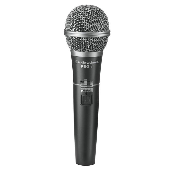 Audio-Technica PRO 31PRO 31Кардиоидный динамический микрофон Audio-Technica PRO 31. Предназначен для близкого вокала Бесшумный выключатель MagnaLock Двухступенчатая шаровидная защита капсюля снижает действие ветра и «поп» эффекта Комплектуется кабелем XLRМ-XLRF Элемент: Динамический Диаграмма направленности: Кардиоида Чехол в комплекте