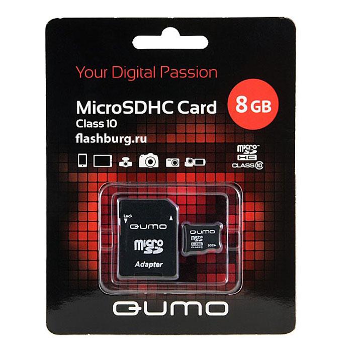 QUMO microSDHC Сlass 10 8GB карта памяти + адаптерQM8GMICSDHC10Универсальная карта QUMO microSDHC расширяет память многофункциональных мобильных телефонов, цифровых камер, карманных компьютеров и других портативных устройств, поддерживающие данный формат карт. Идеально подходит для записи любых видов данных. Сохраните больше своих собственных коллекций музыки, видеороликов, кинофильмов, рингтонов, картин и фотографий! Внимание: перед оформлением заказа убедитесь в поддержке вашим электронным устройством карт памяти данного объема.