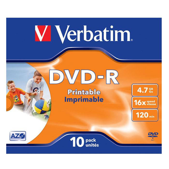 Verbatim DVD-R 4.7GB, 16x, 10шт, Jewel Case, Printable (43521)43521В дисках Verbatim DVDR/RW используется технология MKM/Verbatim, обеспечивающая непревзойденное качество записи. Тесное сотрудничество отдела исследований и разработок компании Mitsubishi Chemical с производителями дисководов обеспечивает широкую совместимость дисков Verbatim, что делает их идеальными носителями для передачи компьютерных данных, домашних видеофильмов, фотографий и музыки. От европейского лидера* в производстве записываемых носителей.