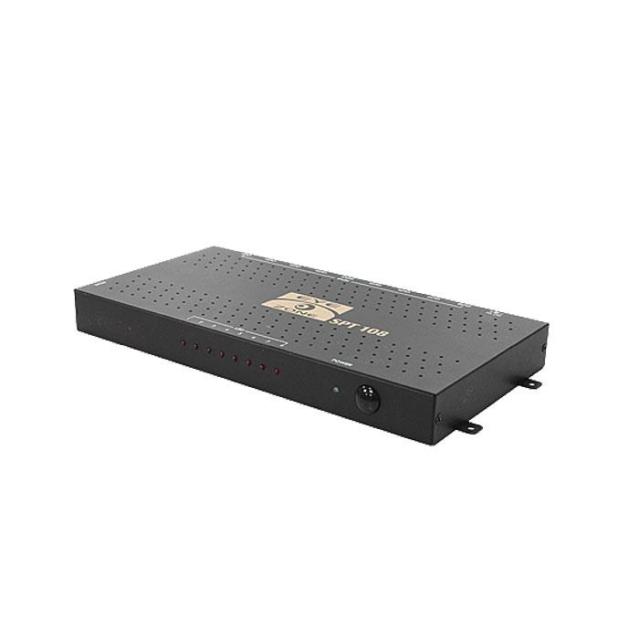 Grandtec FJ Display Eyezone SPT 108SPT 108Сплиттер Grandtec FJ Display Eyezone SPT 108 позволяет подключить к одному HDMI источнику, например Blue Ray проигрыватель или ПК до 8 мониторов. Данный делитель поддерживает передачу аудио-видео сигнала в соответствии с спецификацией HDMI 1.3. Данный сплитер идеально подойдет в магазины, бары, торговые центры или шоурумы для организации витрин, презентации, выставок, а также для разводки HDMI сигнала по квартире или коттеджу. С помощью свичера HDMI Grandtec Вы сможете получить 8 полностью HD одинаковых изображений без потери качества от одного аудиовидео источника. Установка и настройка сплиттера занимает считанные секунды, а стильный металлический корпус не только гарантирует защиту от помех и интерференций, но и стильно впишется в любой интерьер.