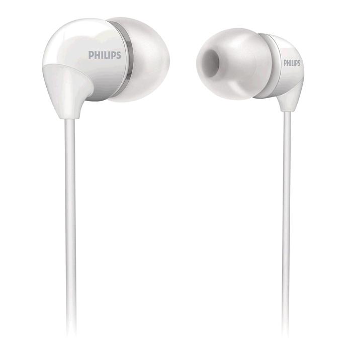 Philips SHE3590WT/10, White наушникиSHE3590WT/10Маленькие громкие динамики наушников-вкладышей Philips SHE3590 обеспечивают плотное прилегание и чистый звук с мощными басами. Идеальны для наслаждения любимой музыкой. В комплект входит 3 резиновых накладки разного размера, и вы гарантированно подберете пару, которая идеально подходит к вашим ушам. Крохотные излучатели обеспечивают плотность прилегания и полностью заполняют ушную раковину, что заглушает внешние источники звука и увеличивает впечатления от прослушивания. Мягкий резиновый сгиб между наушником и кабелем защищает соединение от разрыва при постоянном сгибании и продлевает срок службы.