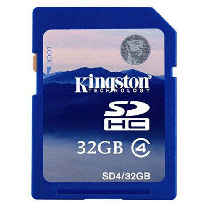 Kingston SDHC class 4 32GBSD4/32GBКарта памяти SDHC с увеличенным объёмом памяти. Внимание: перед оформлением заказа, убедитесь в поддержке Вашим электронным устройством карт памяти данного объема.