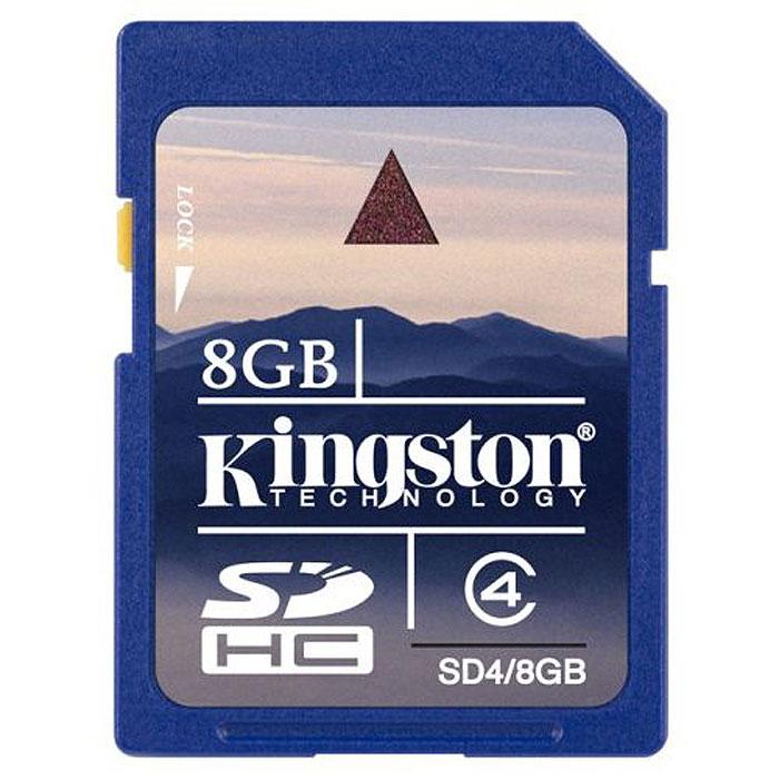 Kingston SDHC class 4 8GBSD4/8GBКарта памяти SDHC с увеличенным объёмом памяти. Внимание: перед оформлением заказа, убедитесь в поддержке Вашим электронным устройством карт памяти данного объема.