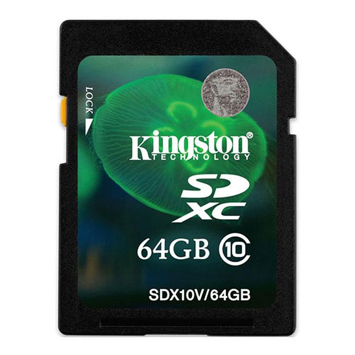 Kingston SDXC Class 10 64GB карта памятиSD10V-64GB/K SDX10V/64GBКарты памяти Kingston SDXC Class 10 предназначенные для использования в смартфонах, планшетных компьютерах и профессиональных фото- и видеокамерах, обеспечивают минимальную скорость передачи данных на уровне 10МБ/с, что позволяет гарантировать оптимальную работу устройств с поддержкой форматов SDHC/SDXC.