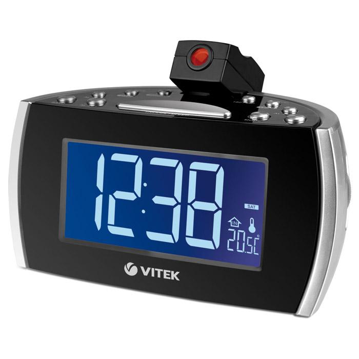 Vitek VT-3505, Silver3505-VT-02Радиочасы Vitek 3505 благодаря малым размерам будут занимать минимум места на прикроватной тумбочке. При этом с их помощью Вы легко узнаете дату, день недели, время и никогда не проспите подъем. Ведь они могут разбудить Вас не только стандартным зуммером, но и Вашей любимой музыкой – в установленное время они могут включиться, настроившись на ту радиостанцию, которая Вам нравится. Тем более что радиочасы Vitek 3505 могут работать с FM и AM диапазонами. Система STABLE+ позволяет поддерживать точность отображения времени за счет дополнительного кварцевого резонатора. Отображение даты, дней недели, комнатной температуры Регулировка яркости дисплея Поворот проектора на 180 градусов Кнопка перехода на летнее/зимнее время Кнопка короткого сна Размер дисплея: 1,8 Таймер отключения Резервное питание: батарея CR2032