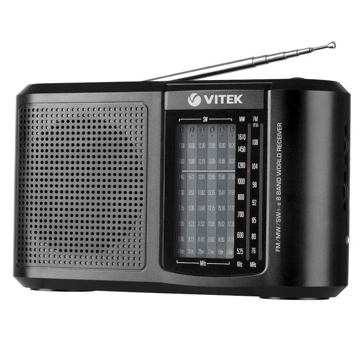 Vitek VT-3590, Black3590-VT-01Вы ищете радиоприемник, который одновременно был бы и компактным, и многофункциональным? Что ж, в этом случае обратите внимание на радиоприемник VITEK VT-3590 BK. С одной стороны – он довольно компактен. Габариты этой модели составляют всего лишь 220х131х63 миллиметра, что позволяет легко брать его с собой на прогулку или же в любую поездку. Тем более что он может работать не только от сети, но и от батареек. Немаловажно и то, что радиоприемник VITEK VT-3590 BK весит очень немного – всего 595 грамм. При этом он качественно принимает сигнал из разных диапазонов – FM, AM, SW. Телескопическая антенна Чувствительность 24 дБ Тип тюнера: аналоговыЙ Питание от сети или 2-х UM1 батарей Рабочие частоты: FM 64-108 MHz; AM 526.5-1606.5 KHz; SW1-SW6 7,10-17,90 МHz