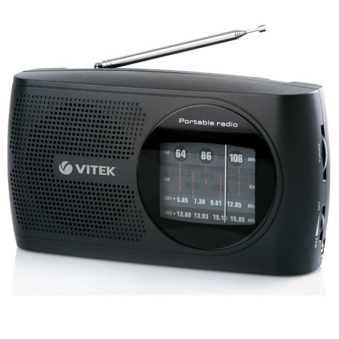 Vitek VT-3587N, Black3587-VT-02Вам хочется купить простой и удобный радиоприемник, с помощью которого Вы могли бы слушать любимые радиостанции дома или на даче? Тогда Вам наверняка понравится радиоприемник VITEK VT-3587 BK. Он прекрасно ловит различные радиостанции в FM, AM и SW диапазонах. Поэтому настроиться на нужную волну будет легко и просто. Телескопическая антенна качественно принимает сигнал в расправленном положении и совершенно не мешается в сложенном. Также радиоприемник VITEK VT-3587 BK имеет разъем, чтобы можно было подключить к нему наушники. Сопротивление 8 Ом Телескопическая антенна Чувствительность 42 дБ Питание от сети или 2-х UM1 батарей Рабочие частоты: FM 64-108 MHz; AM 526.5-1606.5 KHz; SW1–SW2