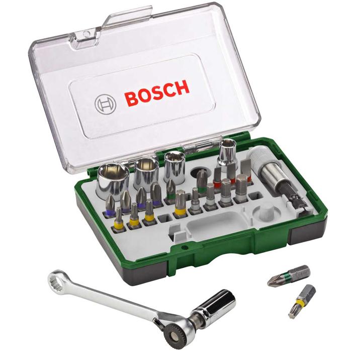 Набор бит с ключом-трещоткой Bosch 2607017160, 27 шт