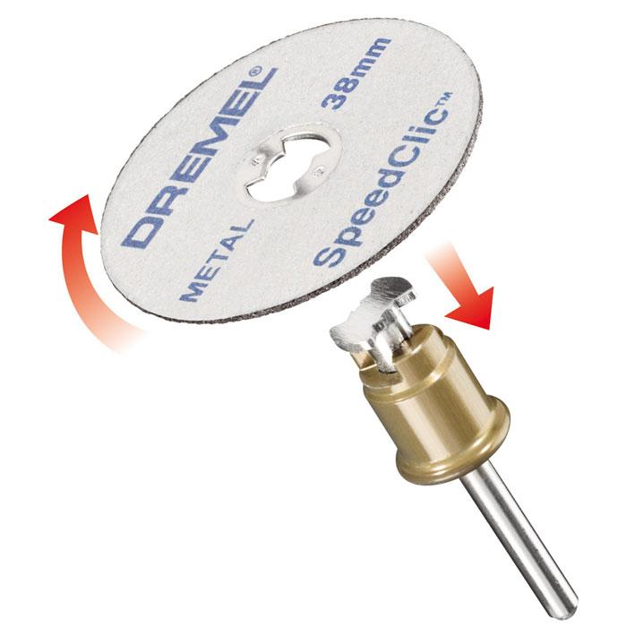 Набор насадок c держателем, 2 шт. Dremel SC406 (2615S406JC)2615S406JCКомплект Starter Set Dremel SC406, состоящий из держателя SpeedClic и двух металлических отрезных кругов диаметром 38 мм. Держатель SpeedClic позволяет легко и быстро менять необходимые насадки. Длина 10 м Диаметр 9.5 мм