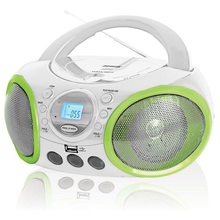 BBK BX100U, White Green CD-магнитолаBX100U белый/зеленыйBX100U - CD/MP3-магнитола с ЖК-дисплеем, предназначенная для воспроизведения аудиофайлов в формате MP3, WMA и CD-DA. Музыкальный контент может быть записан на CD-диски или внешние USB-носители, которые подключаются к магнитоле посредством USB-порта. Проиграть файлы можно в случайном (функция RANDOM) или запрограммированном (функция PROGRAM) порядке. Интерфейс USB Type A