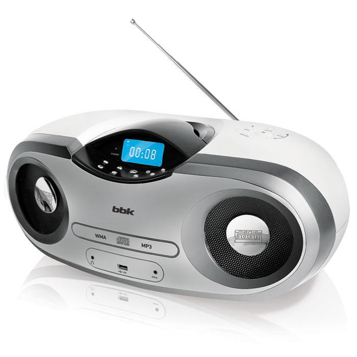 BBK BX517U, White Metallic CD-магнитолаBX517U белый/металликCD/MP3-магнитолу BX517U можно взять с собой на дачу, на природу или в гости и весело провести время с друзьями: она отличается стильным дизайном, обтекаемыми формами, а главное, мощным, насыщенным и одновременно реалистичным звучанием за счет использования высококачественных динамиков и программных решений Sonic Boom.