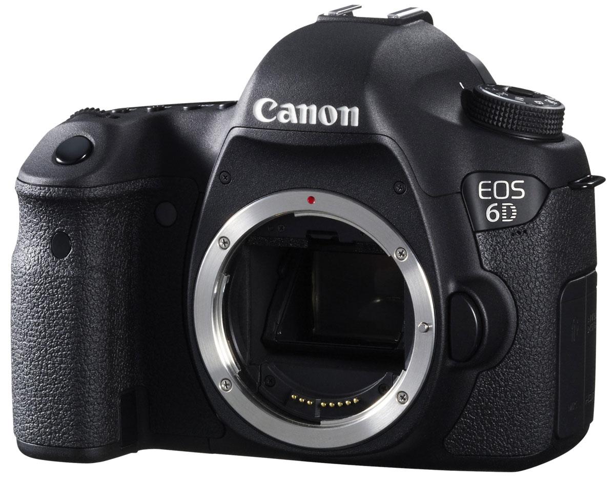 Canon EOS 6D Body8035B004Компактная цифровая зеркальная камера Canon EOS 6D с полнокадровым датчиком на 20,2 мегапикселя. Идеально подходит для портретной съемки и путешествий, обеспечивает точный контроль над глубиной резкости и может использоваться с большим количеством широкоугольных объективов EF. Полнокадровый CMOS-датчик на 20,2 мегапикселя: Сердце камеры EOS 6D - полнокадровый CMOS-датчик на 20,2 мегапикселя и мощный процессор обработки изображений DIGIC 5+. Они позволяют делать безупречно четкие фотографии и передавать мельчайшие детали. Естественность цветопередачи дополнена плавностью переходов полутонов. Преимущества полного кадра: Теперь у Вас есть возможность пользоваться разнообразными широкоугольными объективами EF и открыть для себя совершенно иное видение пейзажной фотографии, фотографии интерьеров и уличной фотографии. Усиленный контроль над глубиной резкости, обеспечиваемый полнокадровым датчиком, позволит Вам делать еще более впечатляющие портреты. ...