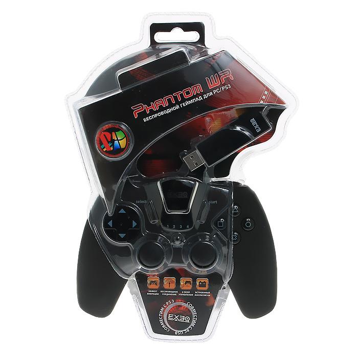 Беспроводной геймпад EXEQ Phantom WR для PS3 / PCeq-uni-02110Беспроводной геймпад Phantom WR - это оригинальное решение для игроков, которым важны не только внешний вид и эргономичный дизайн, а такие факторы как: функциональность, точность в управлении, надежность и возможность подключения как к компьютеру, так и к игровой системе Playstation 3. Встроенный аккумулятор позволит более 10 часов провести за игрой без подзарядки. Геймпад обладает 12 программируемыми кнопками и двумя чувствительными аналоговыми джойстиками, что позволяет не использовать другие устройства ввода во время игры. Уникальное расположение триггеров, эргономичная форма геймпада, прорезиненная поверхность призваны создать дополнительный комфорт при использовании геймпада.