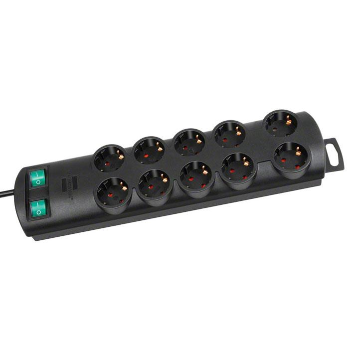 Brennenstuhl Primera-Line удлинитель на 10 розеток, Black1153300120Удлинитель на 10 розеток Brennenstuhl Primera-Line с возможностью выведения кабеля с разных сторон устройства. Кабельный зажим для хранения излишков кабеля Удобное расстояние между розетками Возможность настенного монтажа Розетки защищены от детей Двухполюсный выключатель Тип кабеля: H05VV-F 3G1,5