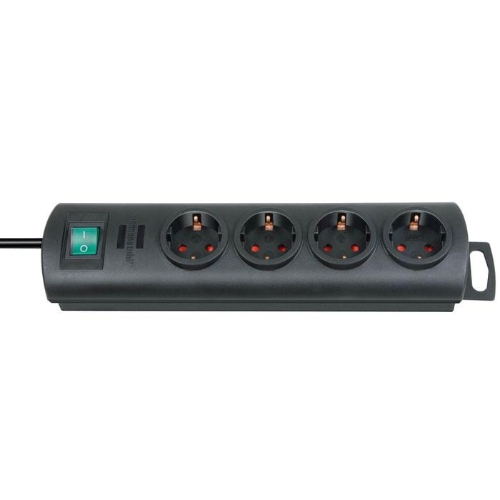 Brennenstuhl Primera-Line удлинитель на 4 розетки, Black1153300124Удлинитель на 4 розетки Brennenstuhl Primera-Line с возможностью выводить кабель с разных сторон устройства. Кабельный зажим для хранения излишков кабеля Удобное расстояние между розетками Возможность настенного монтажа Розетки защищены от детей Двухполюсный выключатель Тип кабеля: H05VV-F 3G1,5