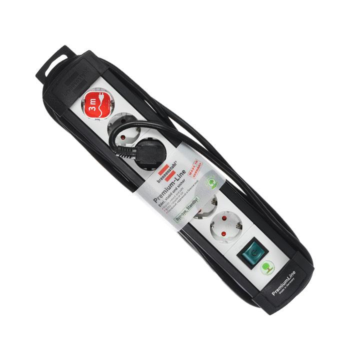Brennenstuhl Premium-Line удлинитель на 6 розеток 3 м, Black Grey
