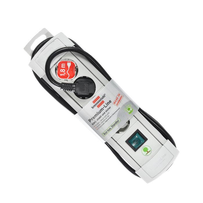Brennenstuhl Premium-Line удлинитель на 4 розетки 1.8 м, Grey1755550014Удлинитель на 4 розетки Brennenstuhl Premium-Line предназначен для подключения различных приборов и устройств к электросети. Надежные гнезда розеток сделаны из специального ударопрочного пластика. Все розетки заземлены и расположены под углом 45° Возможность намотки кабеля для хранения Розетки с защитой от детей Тип кабеля: H05VV-F 3G1,5