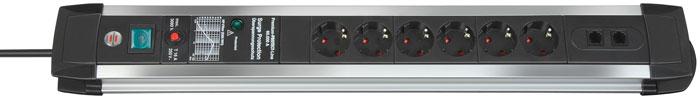 Brennenstuhl Premium-Protect-Line 60.000 A 6 розеток, 3 м1391000606Удлинитель на 6 розеток с защитой от перенапряжения Brennenstuhl Premium-Protect-Line предназначен для подключения различных приборов и устройств к электросети. Устройство оснащено встроенным фильтром для защиты от высокочастотных помех и имеет расширенную защиту от сбоев при входе в систему через ISDN/DSL подключения. Защита оборудования от перенапряжения (непрямые удары молнии), максимум до 60 000 A Прочный матовый алюминиевый корпус Двухполюсный выключатель с подсветкой Предохранитель 16 А Розетки с защитой от детей Тип кабеля: H05VV-F 3G1,5 Фильтр: EMI/RFI Разъемы: 2 х RJ45 (ISDN/DSL)