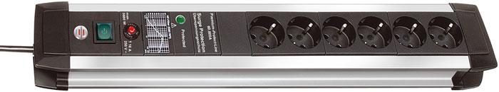Brennenstuhl Premium-Protect-Line 60.000 A 6 розеток, 3 м1391000607Удлинитель на 6 розеток с защитой от перенапряжения Brennenstuhl Premium-Protect-Line предназначен для подключения различных приборов и устройств к электросети. Устройство оснащено встроенным фильтром для защиты от высокочастотных помех. Защита оборудования от перенапряжения (непрямые удары молнии), максимум до 60 000 A Прочный матовый алюминиевый корпус Двухполюсный выключатель с подсветкой Предохранитель 16 А Розетки с защитой от детей Тип кабеля: H05VV-F 3G1,5 Фильтр: EMI/RFI