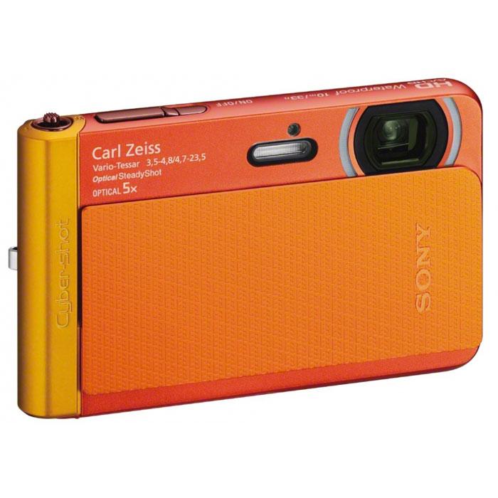 Sony Cyber-shot DSC-TX30, Orange цифровая фотокамераDSC-TX30Камера Sony Cyber-shot DSC-TX30 с ультратонким надежным водонепроницаемым корпусом и записью видео Full HD. Эта камера так же любит приключения, как и вы: У бассейна, в акваланге, на лыжах - или во время бурного веселья. Теперь у вас есть камера, которая такая же смелая, умная и шикарная как и вы. вы будете выделяться в толпе, если у вас в руках эта тонкая изящная камера. Снимайте фото и HD-видео коралловых рифов и заснеженных склонов с высоким уровнем деталировки. Съемка с высокой детализацией, даже при слабом освещении: Более высокий уровень детализации повышает качество изображения и видео до Full HD. Вас приятно удивит результат съемки на матрицу Exmor R™ CMOS, которая снижает шумы изображения и делает изображение чистым и четким даже в условиях недостаточного света на улице или в помещении. Готова ко всему: Эта изящная тонкая камера готова к съемке в любых условиях. С ней вы можете вести съемку на воде и под водой...
