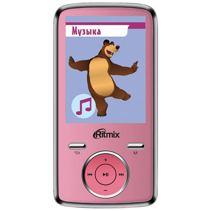 Ritmix RF-7650M 4GB, Pink mp3-плеерRITMIX RF-7650MСпециальная серия портативной техники для детей Ritmix kids: Маша и Медведь. Ritmix RF-7650 M - многофункциональный плеер, который в своем компактном корпусе совмещает множество полезных функций: это воспроизведение аудио и видеофайлов, отображение текстовых и графических документов, фото- и видеосъемка, а также работа в режиме веб-камеры. Поддержка карт памяти до 16 Гб, макс. class 6 Радио: FM (87 - 108 МГц), память на 20 радиостанций Фотографирование: 2048 x 1536 пикселей (3 млн. пикс.)