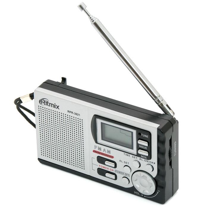 Ritmix RPR-3021, Black радиоприемникRITMIX RPR-3021Ritmix RPR-3021D – портативный многодиапазонный радиоприемник с цифровым дисплеем. Устройство работает на двух диапазонах, включая расширенный FM. RPR-3021D имеет выход на наушники.
