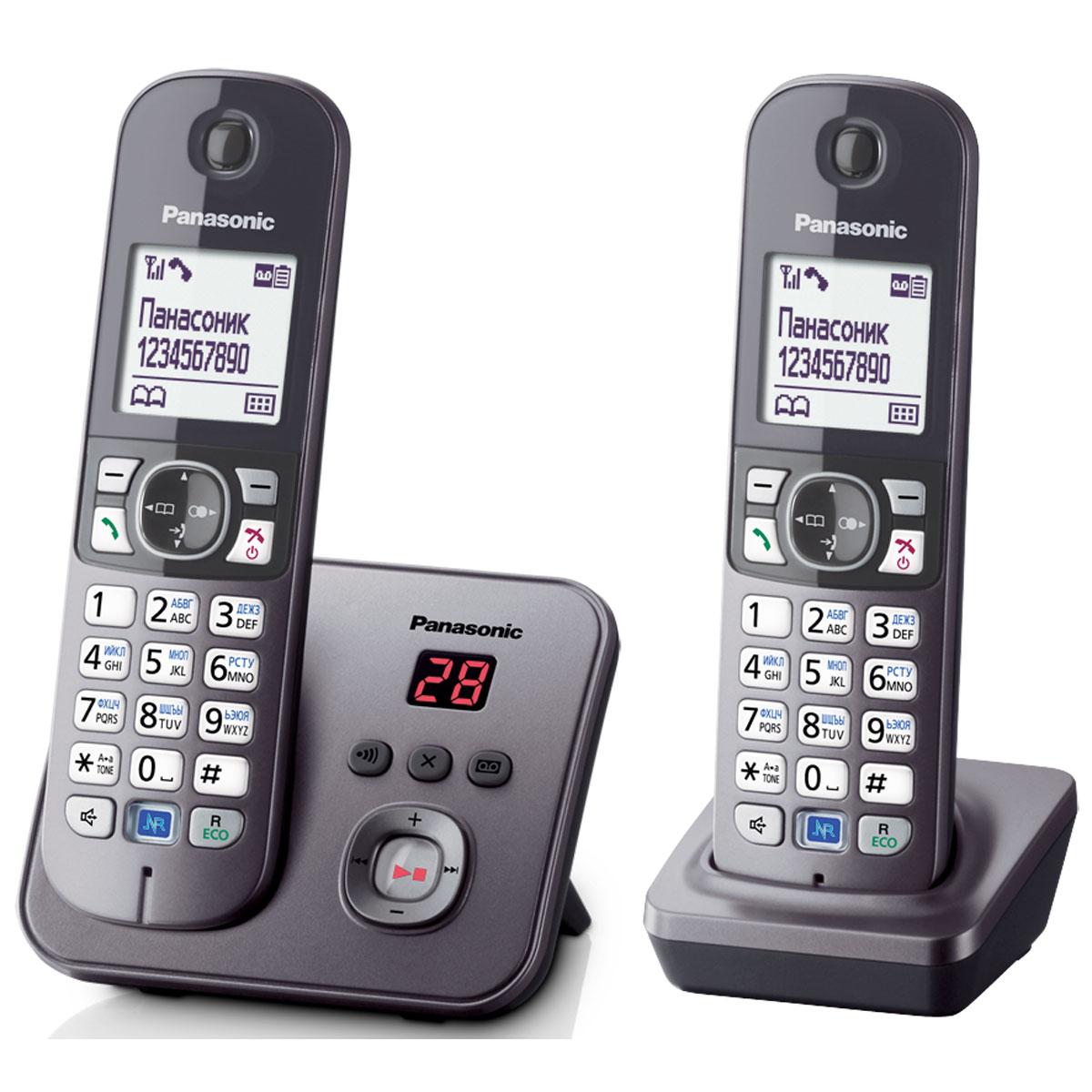 Panasonic KX-TG6822 RUM DECT телефонKX-TG6822RUMDECT телефон Panasonic KX-TG6822RUM. Функция радионяня - вы можете осуществлять акустический контроль помещения, например, детской из других комнат в доме - одна трубка устанавливается рядом с ребенком, а вторая - у родителей. Снижение фонового шума позволяет улучшить качество связи. Panasonic KX-TG6822RUM имеет в комплекте дополнительную трубку. блокировка клавиатуры русифицированное меню часы, дата на дисплее будильник с повторным сигналом и установкой по дням недели повторный набор