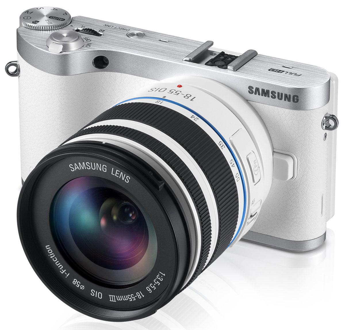 Samsung NX300 Kit 18-55, WhiteEV-NX300ZBSQURUSMART-камера Samsung NX300 со сверхчувствительным 20,3 Mпикс APS-C CMOS сенсором и гибридной системой автофокусировки стирает грань между профессионалом и фотолюбителем-энтузиастом. Благодаря ультракороткой выдержке (1/6000 секунды), Вы остановите любое быстротекущее действие и никогда больше не упустите интересный динамичный сюжет Улучшенный 20,3 Mпикс APS-C CMOS сенсор: Созданный для фотолюбителей 20,3-мегапиксельный APS-C CMOS сенсор оснащен фазовой системой автофокусировки. Этот сенсор обеспечивает получение высококачественного изображения, отличается естественной цветопередачей и высочайшим разрешением в своем классе. Сенсор размером 23,5 x 15,7 мм отличается высокой светочувствительностью и воспринимает достаточно света, чтобы Вы смогли получить превосходно экспонированные яркие и четкие снимки без следов шумов даже в условиях низкой освещенности. Следящий автофокус: Гибридная система автофокуса использует фазовую и контрастную автофокусировку...