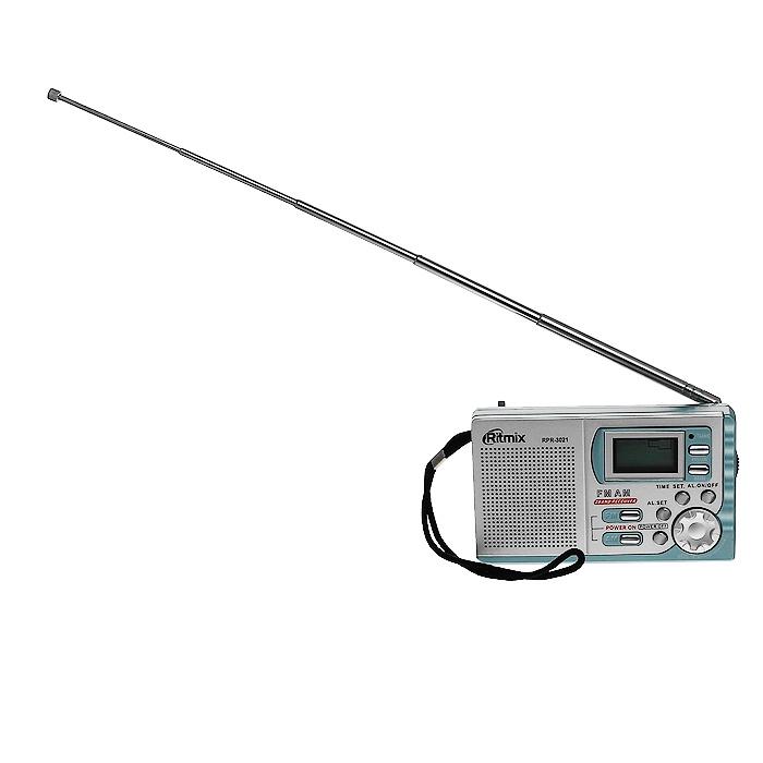 Ritmix RPR-3021, Silver радиоприемникRITMIX RPR-3021Ritmix RPR-3021D – портативный многодиапазонный радиоприемник с цифровым дисплеем. Устройство работает на двух диапазонах, включая расширенный FM. RPR-3021D имеет выход на наушники.