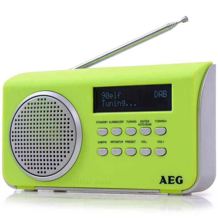 AEG DAB 4130, Green радиоприемникDAB 4130 grunПортативный радиоприемник AEG DAB 4130. AUX-IN ЖК-дисплей Режим ожидания Спящий режим Сенсорный корпус Телескопическая антенна Автоматический и ручной поиск 10 ячеек памяти для радиостанций DAB+ радио: большое количество разнообразных программ благодаря цифровому, безупречному приему, а также дополнительная информация по программам Режим работы от батарей: 4 х АА