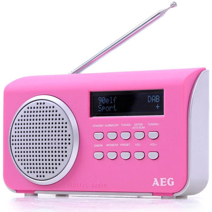 AEG DAB 4130, Pink радиоприемникDAB 4130 pinkПортативный радиоприемник AEG DAB 4130. AUX-IN ЖК-дисплей Режим ожидания Спящий режим Сенсорный корпус Телескопическая антенна Автоматический и ручной поиск 10 ячеек памяти для радиостанций DAB+ радио: большое количество разнообразных программ благодаря цифровому, безупречному приему, а также дополнительная информация по программам Режим работы от батарей: 4 х АА